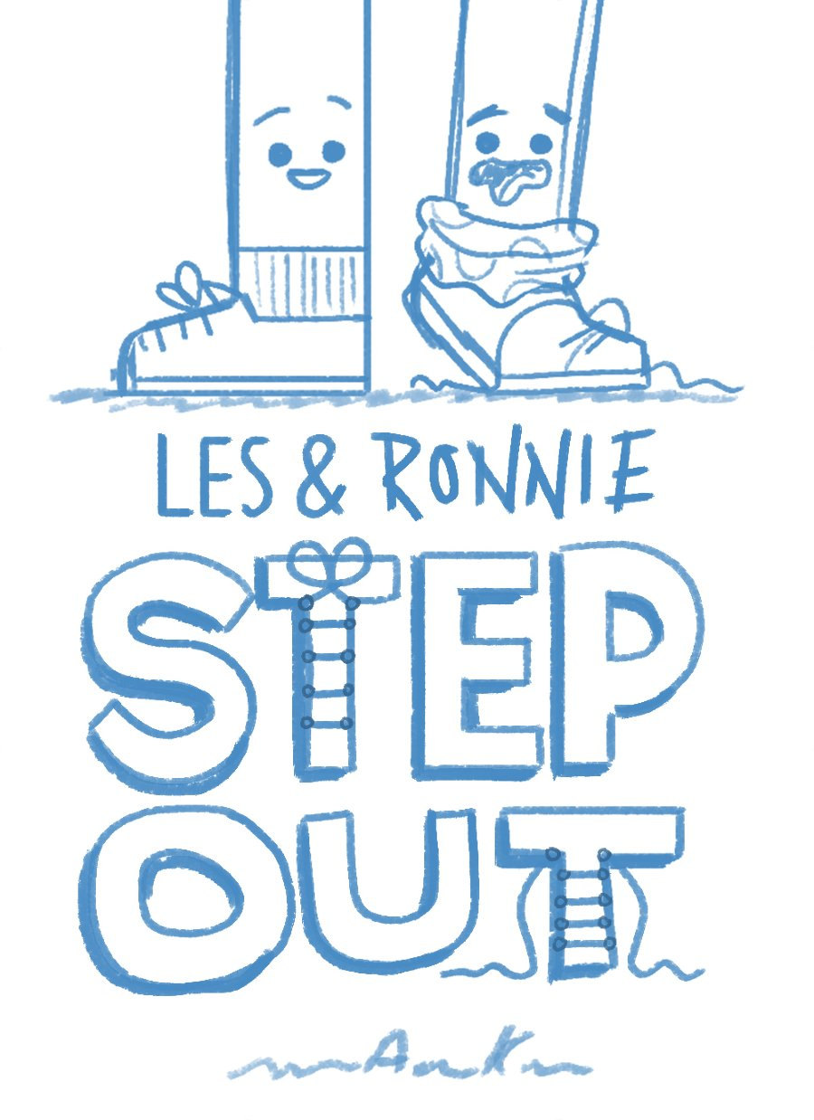 Skethces of Les & Ronnie Step out by Children's Book Author and Illustrator Andrew Kolb