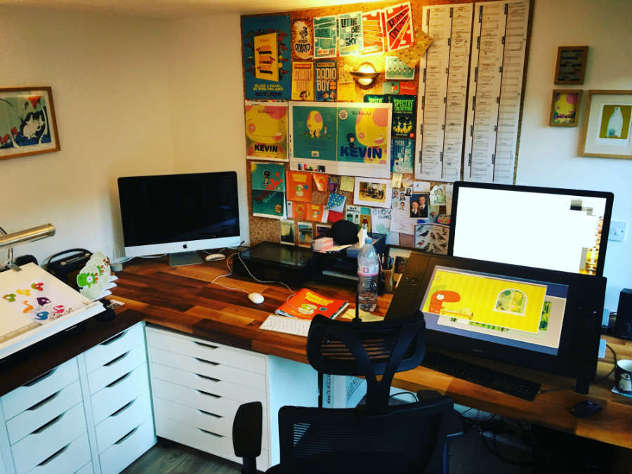 Children's book author and illustrator Rob Biddulph workspace