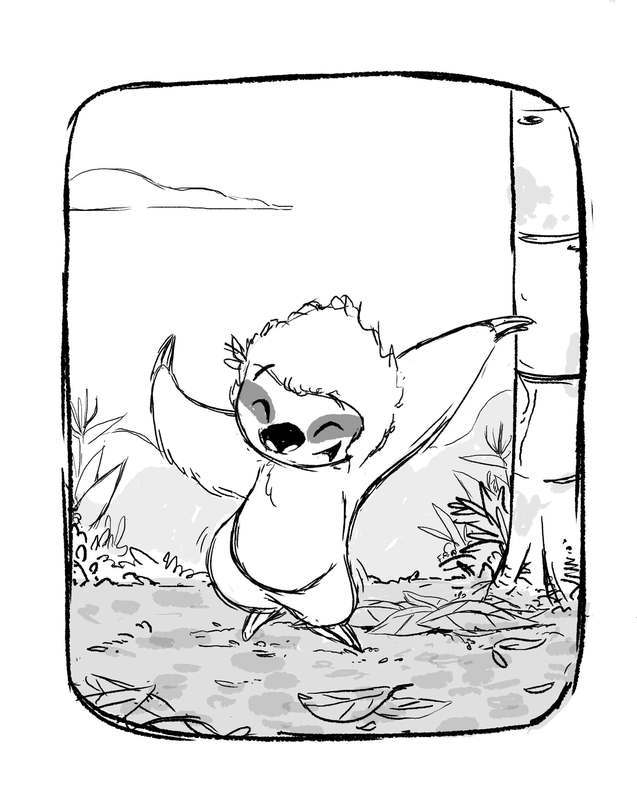 Sketch of Sloth doing his happy dance!