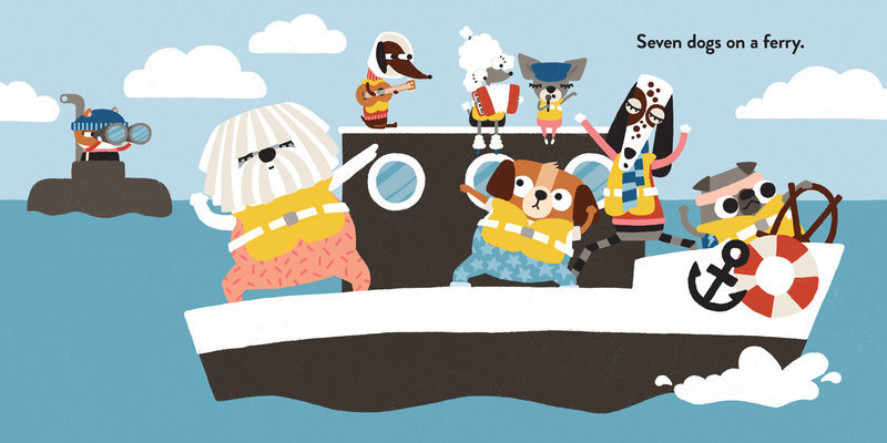 Seven dogs on a ferry.